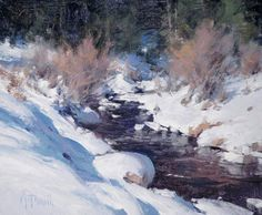 "MATT SMITH, ""Tonto Creek"" (oil, 10x12) ~ July 2015 at Trailside Galleries, Jackson, WY Watercolor Scenery, Watercolor Ocean, Classic Paintings, Snow Scenes, Winter Scenes, Impressionist Paintings, Landscape Paintings, Desert Art, Kunst"