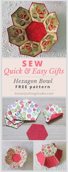 Hexagon bowl tutorial- quick and easy project to sew; great for fabric and interfacing scraps. via @getagrama