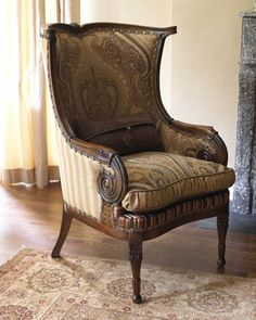 """Gretchen"" Wingback Chair by Jeff Zimmerman Collection by Key City at Horchow."