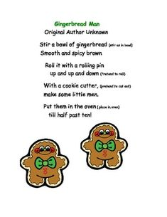 Gingerbread Man Finger Play by Title 1 Teacher Gingerbread Man Song, Gingerbread Man Activities, Gingerbread Crafts, Kindergarten Songs, Preschool Music, Preschool Themes, Literacy Activities, Therapy Activities, Preschool Crafts