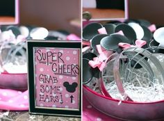 "Minnie Mouse party - ""Super cheers! Grab some ears!"""