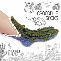 Crocodile Slippers Socks by Crochet Friend / Funny Warm Home Shoes / Adult size . - Crocodile Slippers Socks by Crochet Friend / Funny Warm Home Shoes / Adult size … Crocodile Sli - Cute Crochet, Crochet Crafts, Yarn Crafts, Knit Crochet, Funny Crochet, Free Crochet Bag, Crochet Mandala, Crochet Afghans, Crochet Blankets