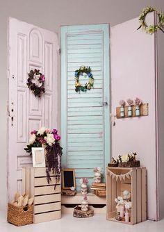 Easter children door flower photo backdrop