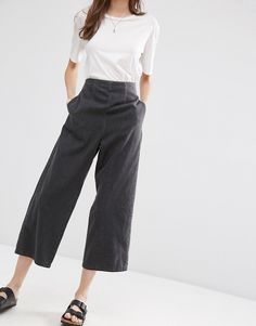 Image 1 ofASOS Soft Wide Leg Jean With Zip Back In Black