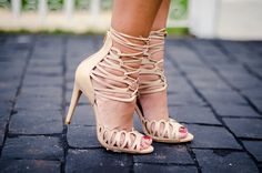 Luiza Barcelos - nude gladiator style heels.. Oh so cool