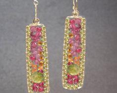 Drop Chandelier Gemstone Earrings pink ruby by CalicoJunoJewelry