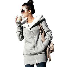 2017 Hoodies Warm Fleece Cotton Coats Zip Up Outerwear Hooded Sweatshirts Casual Long Jaket