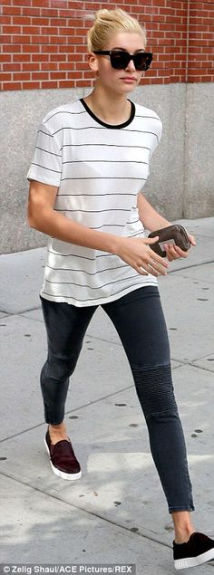 Off-duty: Hailey was seen later in the day in leggings as she left Kanye West's apartment