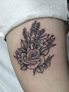 woodcut tattoo of rose and lavender by Jennifer lawes Instagram; @jenniferlawes