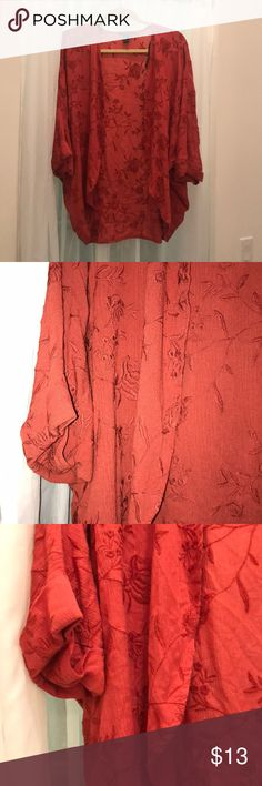 Burnt Orange Floral Embroidered Kimono Super cute Kimono that's just been sitting in my closet. Never worn. FOREVER 21 NOT FP Free People Jackets & Coats Capes