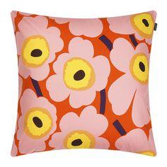 Discover the Marimekko Pieni Unikko Cushion Cover - - Orange/Pink/Yellow at Amara Orla Kiely Cushions, Cushion Covers, Pillow Covers, Luxury Cushions, Orange Pillows, Nordic Design, Marimekko, Designer Pillow, Bold Prints