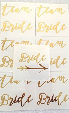 "NEW** team Bride -2"" X 2""- set of 10- temporary gOLD tattoo - bachelorette bridal party favor-bridesmaid tattoo-hens party- READY-to-SHIP by janetmorrin on Etsy"