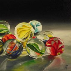 """Glass Marbles now Available"" - Original Fine Art for Sale - © Jane Palmer"