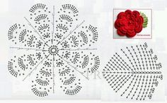 Irish lace, crochet, crochet patterns, clothing and decorations for the house, crocheted. Crochet Motif Patterns, Crochet Blocks, Crochet Mandala, Crochet Diagram, Freeform Crochet, Crochet Stitches, Love Crochet, Irish Crochet, Diy Crochet