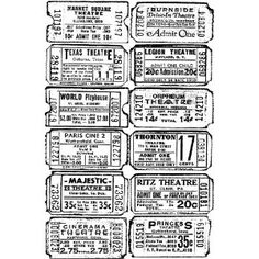 Stampers Anonymous Tim Holtz Cling Rubber Stamp: Ticket by Stampers Anonymous Tim Holtz Stamps, Digi Stamps, Journal Pages, Junk Journal, Ticket, Paper Bag Scrapbook, Images Vintage, Vintage Tags, Stampers Anonymous