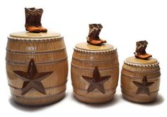 Western Canister Set Cowboy Boots Texas Star Brown Barrel Lids Seal Set of 3 #WMG