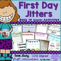 This First Day Jitters book companion packet for the book First Day Jitters by Julie Dannenberg is perfect to use on the first day and the first weeks of school. It includes a total of 22 activities, listed below, to help you teach many of the Common Core Literature standards from day one. Common Core Activities, First Day Activities, Back To School Activities, School Resources, Writing Activities, School Ideas, First Grade Jitters, Teaching First Grade, Back To School Night