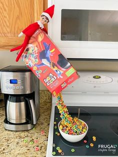 This cereal looks like it's levitating. This cereal box craft is such a fun Elf on the Shelf prop. Have fun with these funny Elf on a Shelf ideas using cereal as well as this really cool elf pouring magical cereal box. How to make this fun Elf on the Shelf Cereal Trick in 30 minutes using pipe cleaners and hot glue. Keep it low cost with Dollar Tree Elf on the Shelf props & supplies. #FrugalCouponLiving #ElfontheShelf #ElfontheShelfIdeas Dollar Tree Elves, Magic Tricks Tutorial, Halloween Scavenger Hunt, Embrace The Chaos, Elf Magic, Edible Glitter, An Elf, Pipe Cleaners, Shelf Ideas