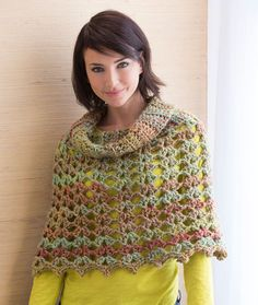 Chic Cowl Neck Poncho Free Crochet Pattern from Red Heart Yarns