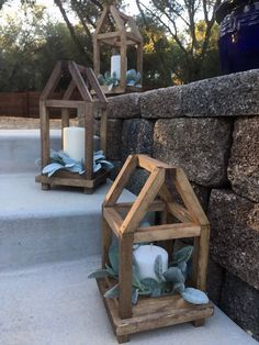 Wood lantern centerpiece with framed rooftop, farmhouse style wood lantern, wood lantern wedding centerpiece, wood candle lantern Wooden Lanterns, Hanging Lanterns, Diy Hanging, Candle Lanterns, Lanterns Decor, Scrap Wood Projects, Diy Projects, Simple Wood Projects, Scrap Wood Crafts