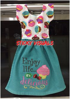 Oven Door Towel Hand Made Kitchen Towel  >>>>>> FREE SHIPPING <<<<<<  with Embroidered  Enjoy Life It's Delicious Tea Cupcake on Towel.     This is a large design, very detailed.   Brand New.  Colors: Teal Cotton Towel, Fabric on top is Multi color Cupcakes design.  Great for a Gift !!!!!!  Towel is 2 Sided, Both sides can be used (Embroidered Design is only on one side)  100% cotton towel.