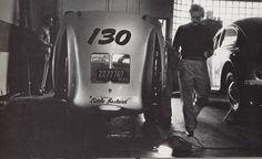 James Dean the Giant in a Garage with his Porsche 550 Spyder