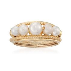 Ross-Simons - Italian Cultured Pearl Ring in 14kt Yellow Gold - #799602