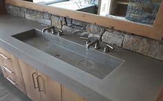 Custom Concrete Bathroom Sinks - Trueform Concrete Like with wall mount fixtures.