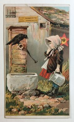 Domestic Sewing Machine Co. Victorian Trade Card, Girl At Well w/ Pitcher & Crow #DomesticSewingMachineCo