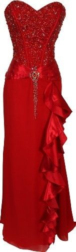 night moves - red strapless full length beaded gown