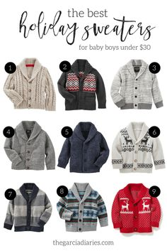 The BEST and cutest holiday sweaters/cardigans for baby boys, toddlers and kids... so adorable too!!!