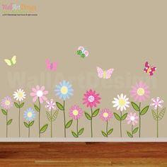 Vinyl Wall Decal Stickers Daisy Flowers by wallartdesign on Etsy, $68.99
