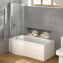 1675x850mm - Left Hand P-Shaped Bath with 6mm Screen & Front Panel (Excludes End Panel)