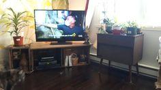Deux caisses de pommes avec une grosse planche font mon nouveau meuble tv! :-) Flat Screen, Tv Storage, Apples, Baby Born, Flat Screen Display