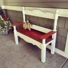 headboard and footboard from my bed when i was a little girl...my grandpa made it into a bench for my moms front porch :)