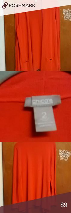 Chico's ladies red cardigan medium Ladies red cardigan open front , two front pockets with buttons, long sleeve ribbed bottom,  ribbed bottom at the sleeves, lightweight, great for leggings and those who want just a little extra covering, 30 inch long from shoulder to hem line. Very good condition. $9 Sweaters Cardigans