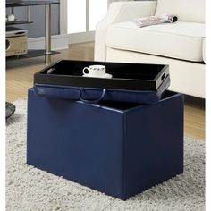 PU Leather 4 Tray Top Storage Ottoman Table Bench for Coffee Fruit