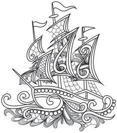 Intricate lines and lacy detailing come together in this stunning ship design pattern. Downloads as a PDF. Use pattern transfer paper to trace design for hand-stitching.