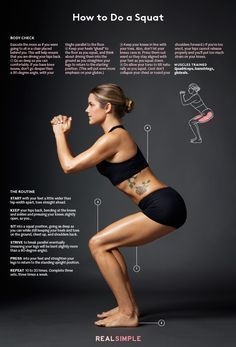 How to Do Squats (Video): Proper Squat Form Anyone Can Master - How to Do a Squat: An illustrated guide to the perfect squat. Fitness Workouts, At Home Workouts, Fitness Tips, Fitness Motivation, Exercise Workouts, Squat Exercise, Squats Fitness, Song Workouts, Cheer Workouts