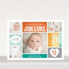 Brand New Love - Boy Photo Birth Announcements - Ann Kelle - Autumn Orange - Orange : Front