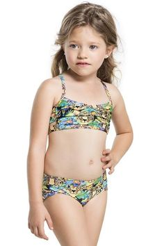 The Agua Bendita Vuelo Bikini has a beautifully wild jungle print which will bring a smile to any girls face. #kidsfashion #designerkids #girlsbikini