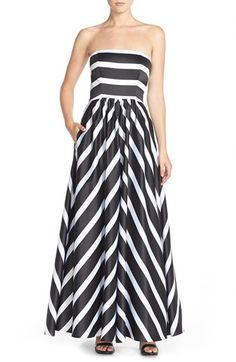 Free shipping and returns on Betsy & Adam Strapless Stripe Satin Ballgown at Nordstrom.com. Always-chic black-and-white stripes enhances the sophistication of a luminous satin gown that pairs a fitted strapless bodice with a voluminous floor-skimming skirt.