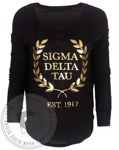 Sigma Delta Tau We Struck Gold Foil Wreath Long Sleeve by Adam Block Design | Custom Greek Apparel & Sorority Clothes | www.adamblockdesign.com