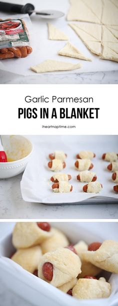 garlic parmesan pigs in a blanket, football food, sides and appetizer dishes, easy appetizer, easy holiday food, easy party food