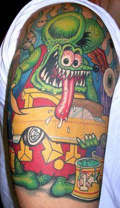 Tattooed lad eating rod
