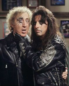 Alice Cooper and Gene Wilder on the set of the short-lived TV sitcom 'Something Wilder' in 1995.