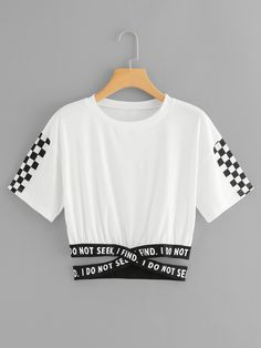 Gingham Panel Cross Detail TeeFor Women-romwe - ♡ - i do not seek, i find (cropped t-shirt with armpit-length sleeves and checker designs vers. Cute Lazy Outfits, Crop Top Outfits, Kids Outfits Girls, Teen Fashion Outfits, Teenager Outfits, Trendy Outfits, Girl Outfits, Belly Shirts, Diy Vetement