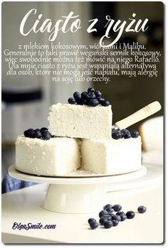 Ciasto z ryżu Dzisiaj ma dla was ciasto z ryżu, to taki prawie sernik kokosowy, można też go nazwać Rafaello. Dla mnie ciasto z ryżu jest wspaniałą alternatywą dla osób, które nie mogą jeść nabiału, mają