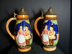 """Large 11"""" Vintage Beer Steins Pair Colonial Castle Metal Lid Man Cave Antique Decor Cabin Japan Hand Painted by NewOxfordVintage on Etsy"""