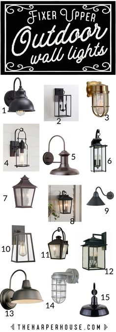 These outdoor wall lights will help add that perfect Fixer Upper curb appeal to your home. Shopping sources and links on the blog! farmhouse outdoor light fixtures, fixer upper lights, budget friendly outdoor lighting   theharperhouse.com